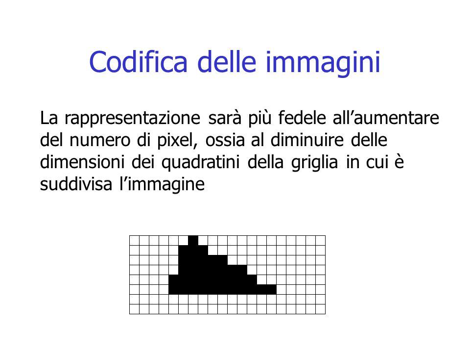 Codifica delle immagini La rappresentazione sarà più fedele all'aumentare del numero di pixel, ossia al diminuire delle dimensioni dei quadratini dell