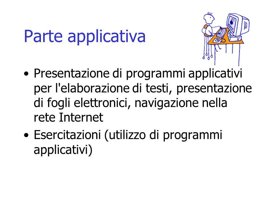Parte applicativa Presentazione di programmi applicativi per l'elaborazione di testi, presentazione di fogli elettronici, navigazione nella rete Inter