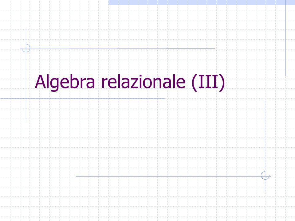 Viste Relazioni derivate definite su relazioni di schema logico Viste materializzate (con tuple memorizzate in DB) Relazioni virtuali, o viste (memorizzate in DB mediante espressioni del linguaggio di interrogazione, senza memorizzazione di tuple)