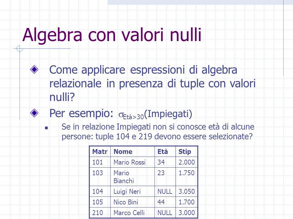 Algebra con valori nulli Come applicare espressioni di algebra relazionale in presenza di tuple con valori nulli.