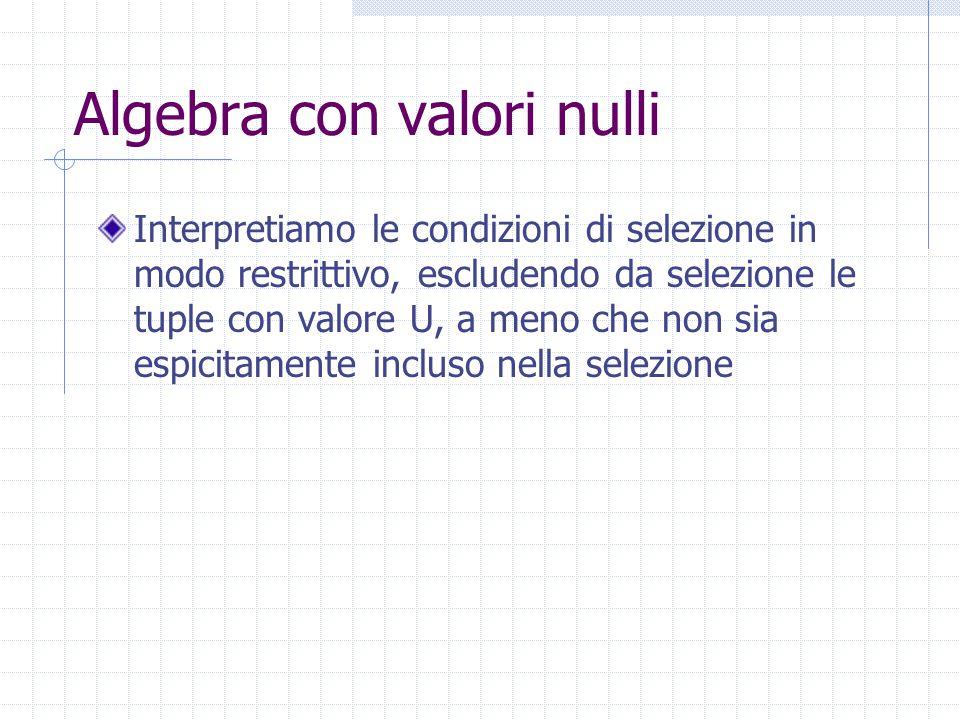 Algebra con valori nulli Interpretiamo le condizioni di selezione in modo restrittivo, escludendo da selezione le tuple con valore U, a meno che non sia espicitamente incluso nella selezione