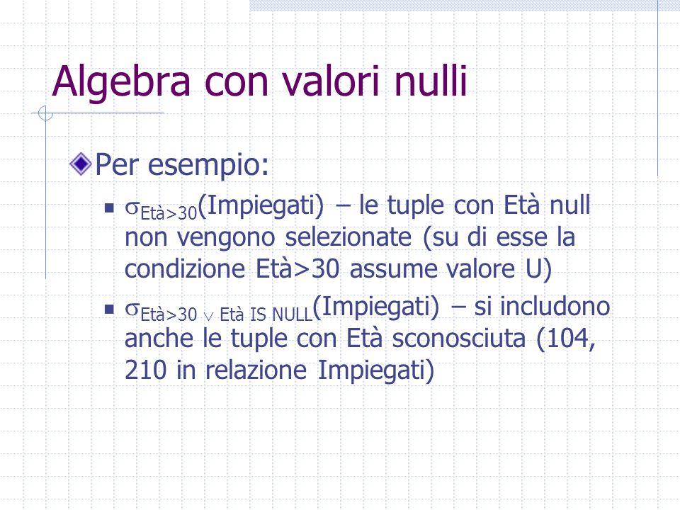 Algebra con valori nulli Per esempio:  Età>30 (Impiegati) – le tuple con Età null non vengono selezionate (su di esse la condizione Età>30 assume valore U)  Età>30  Età IS NULL (Impiegati) – si includono anche le tuple con Età sconosciuta (104, 210 in relazione Impiegati)