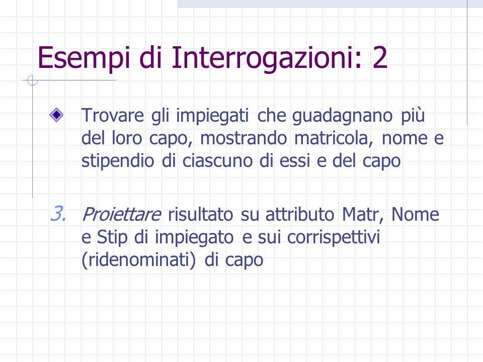 Esempi di Interrogazioni: 2  Matr,Nome,Stip,MatrC,NomeC,StipC (  Stip>StipC ((Impiegati  Matr=Impiegato Supervisione)  Capo=MatrC  MatrC,NomeC,EtàC,StipC  Matr,Nome,Età,Stip (Impiegati))) Trovare gli impiegati che guadagnano più del loro capo, mostrando matricola, nome e stipendio di ciascuno di essi e del capo