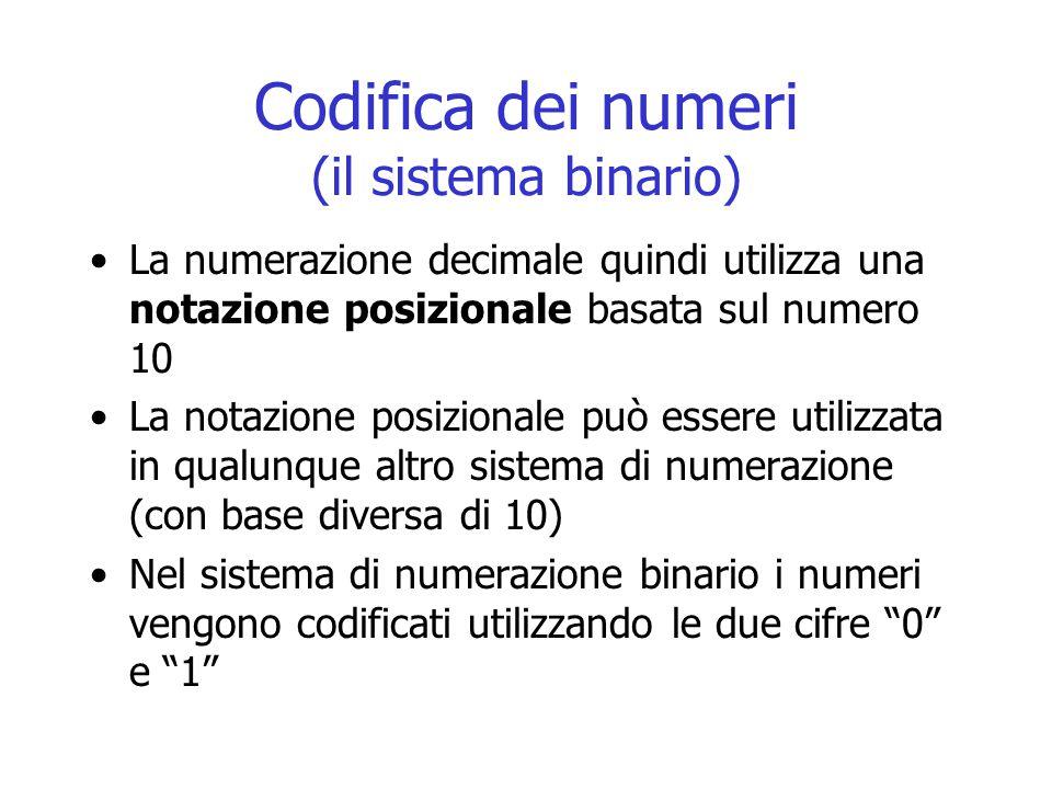 Codifica dei numeri (il sistema binario) La numerazione decimale quindi utilizza una notazione posizionale basata sul numero 10 La notazione posiziona