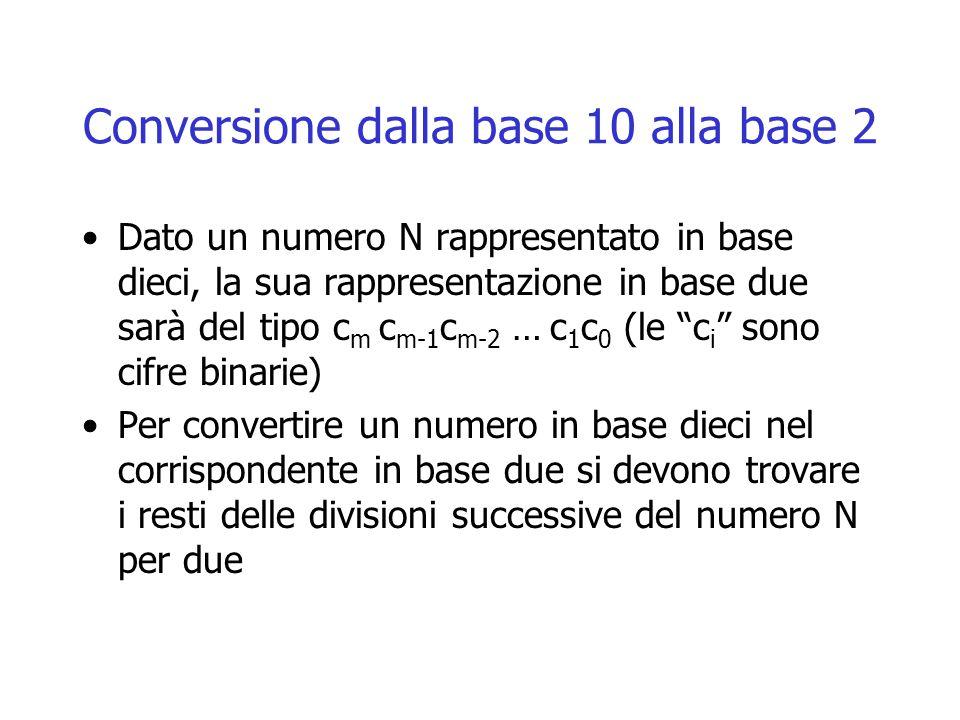 Conversione dalla base 10 alla base 2 Dato un numero N rappresentato in base dieci, la sua rappresentazione in base due sarà del tipo c m c m-1 c m-2