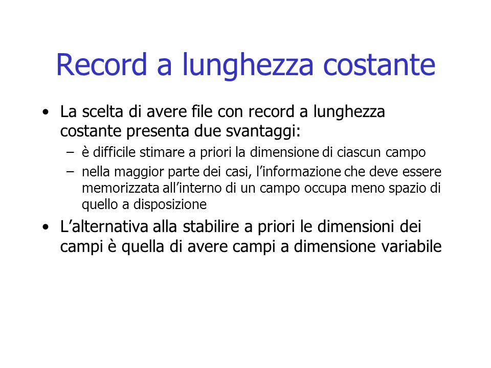 Record a lunghezza costante La scelta di avere file con record a lunghezza costante presenta due svantaggi: –è difficile stimare a priori la dimension