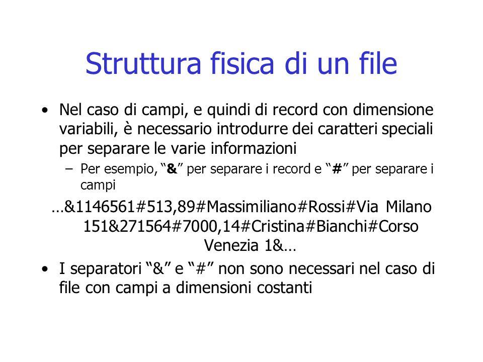 Struttura fisica di un file Nel caso di campi, e quindi di record con dimensione variabili, è necessario introdurre dei caratteri speciali per separar
