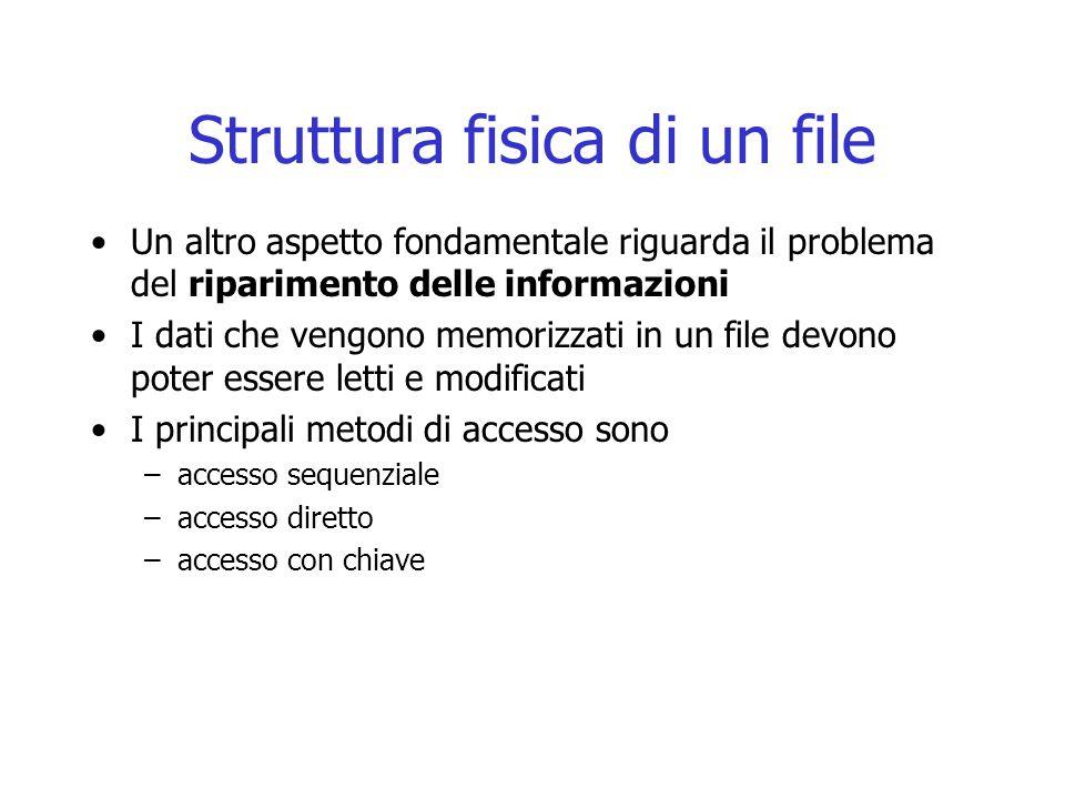 Struttura fisica di un file Un altro aspetto fondamentale riguarda il problema del riparimento delle informazioni I dati che vengono memorizzati in un