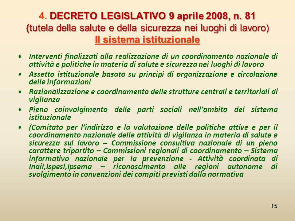 DECRETO LEGISLATIVO 9 aprile 2008, n. 81 (tutela della salute e della sicurezza nei luoghi di lavoro) Il sistema istituzionale 4. DECRETO LEGISLATIVO