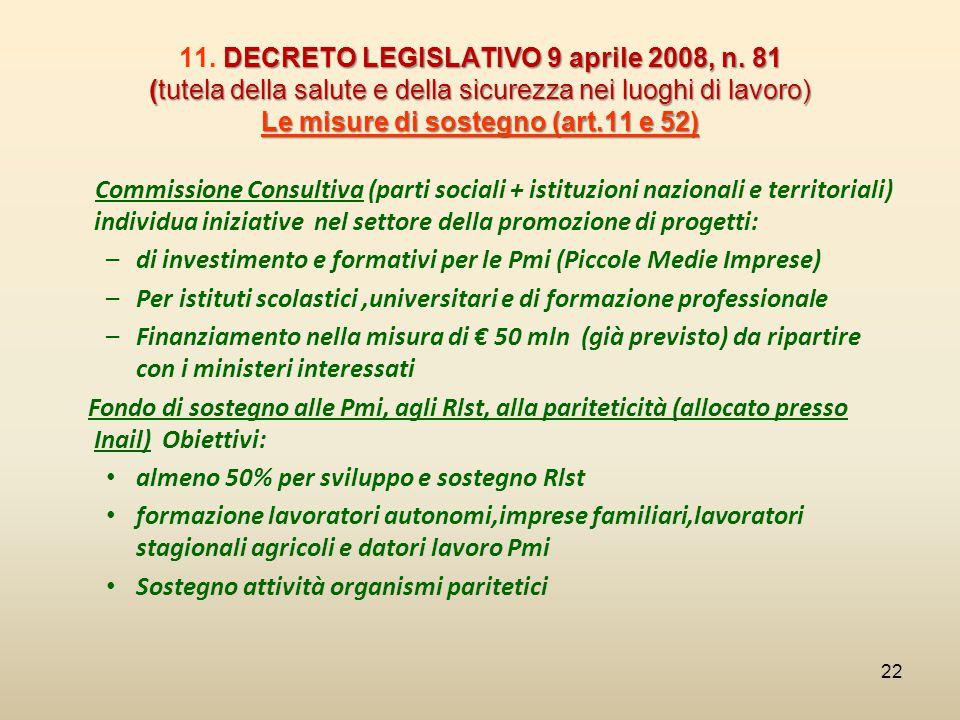 DECRETO LEGISLATIVO 9 aprile 2008, n. 81 (tutela della salute e della sicurezza nei luoghi di lavoro) Le misure di sostegno (art.11 e 52) 11. DECRETO