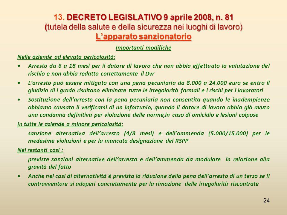 DECRETO LEGISLATIVO 9 aprile 2008, n. 81 (tutela della salute e della sicurezza nei luoghi di lavoro) L'apparato sanzionatorio 13. DECRETO LEGISLATIVO