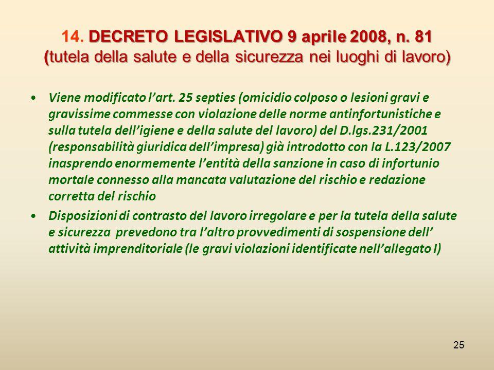 DECRETO LEGISLATIVO 9 aprile 2008, n. 81 (tutela della salute e della sicurezza nei luoghi di lavoro) 14. DECRETO LEGISLATIVO 9 aprile 2008, n. 81 (tu