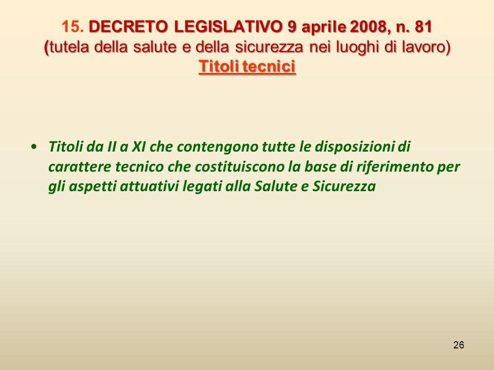 DECRETO LEGISLATIVO 9 aprile 2008, n. 81 (tutela della salute e della sicurezza nei luoghi di lavoro) Titoli tecnici 15. DECRETO LEGISLATIVO 9 aprile