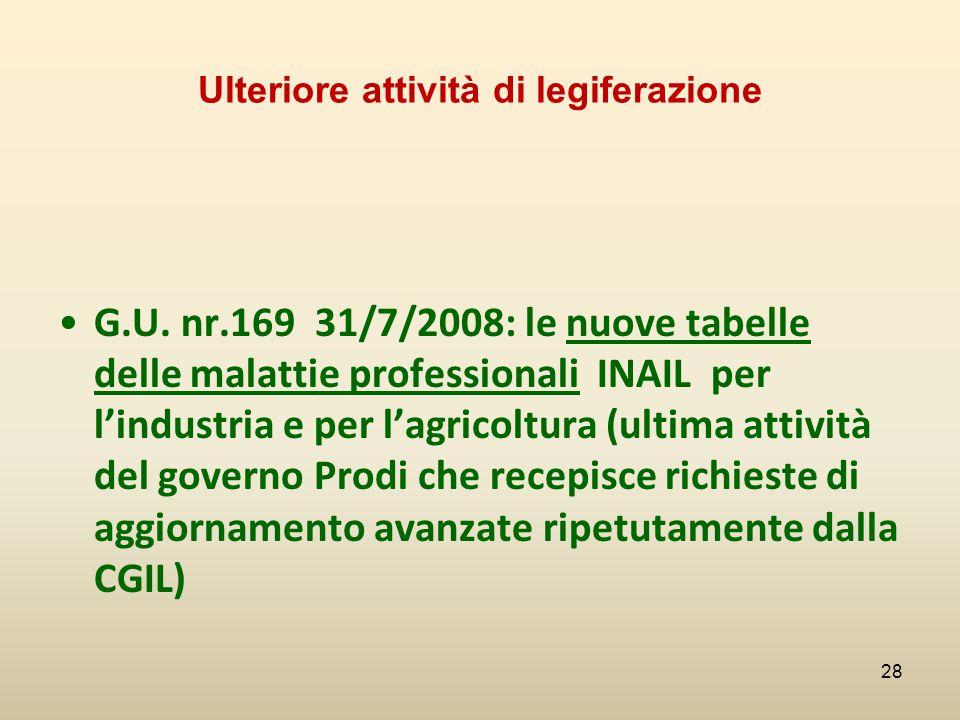 Ulteriore attività di legiferazione G.U. nr.169 31/7/2008: le nuove tabelle delle malattie professionali INAIL per l'industria e per l'agricoltura (ul