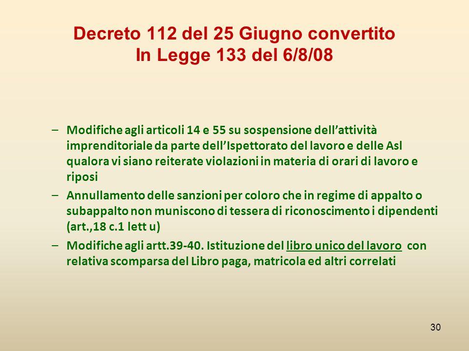 Decreto 112 del 25 Giugno convertito In Legge 133 del 6/8/08 –Modifiche agli articoli 14 e 55 su sospensione dell'attività imprenditoriale da parte de
