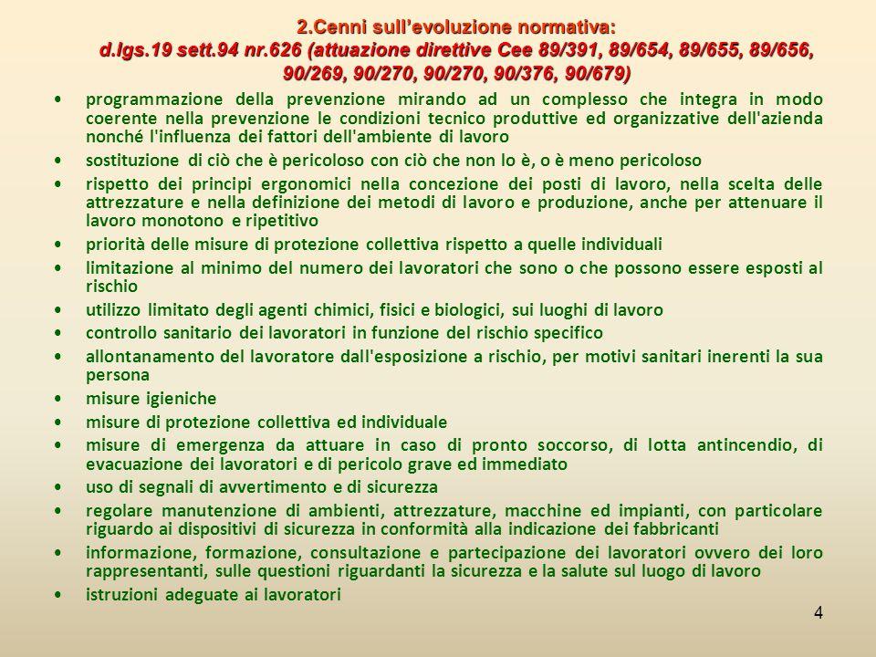 2.Cenni sull'evoluzione normativa: d.lgs.19 sett.94 nr.626 (attuazione direttive Cee 89/391, 89/654, 89/655, 89/656, 90/269, 90/270, 90/270, 90/376, 9