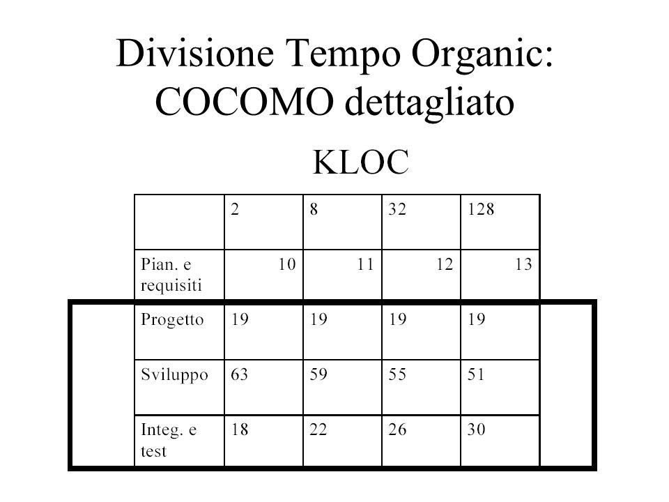Divisione Tempo Organic: COCOMO dettagliato