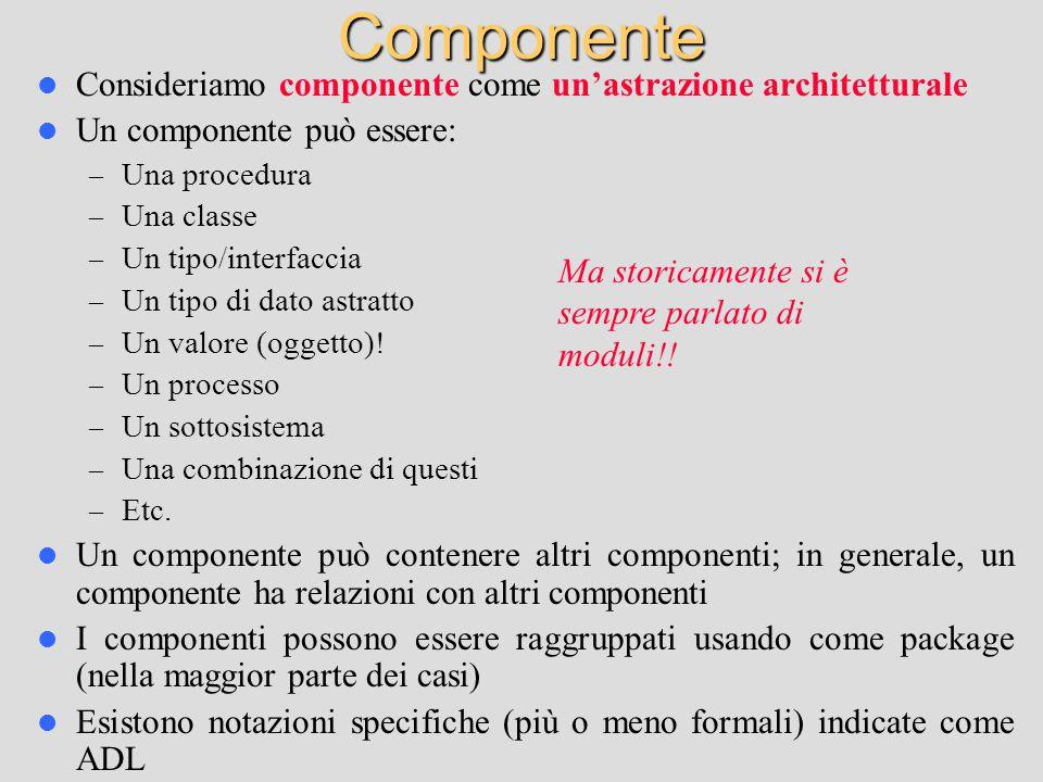 Componente Consideriamo componente come un'astrazione architetturale Un componente può essere: – Una procedura – Una classe – Un tipo/interfaccia – Un tipo di dato astratto – Un valore (oggetto).