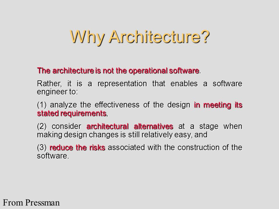 Why Architecture. The architecture is not the operational software.