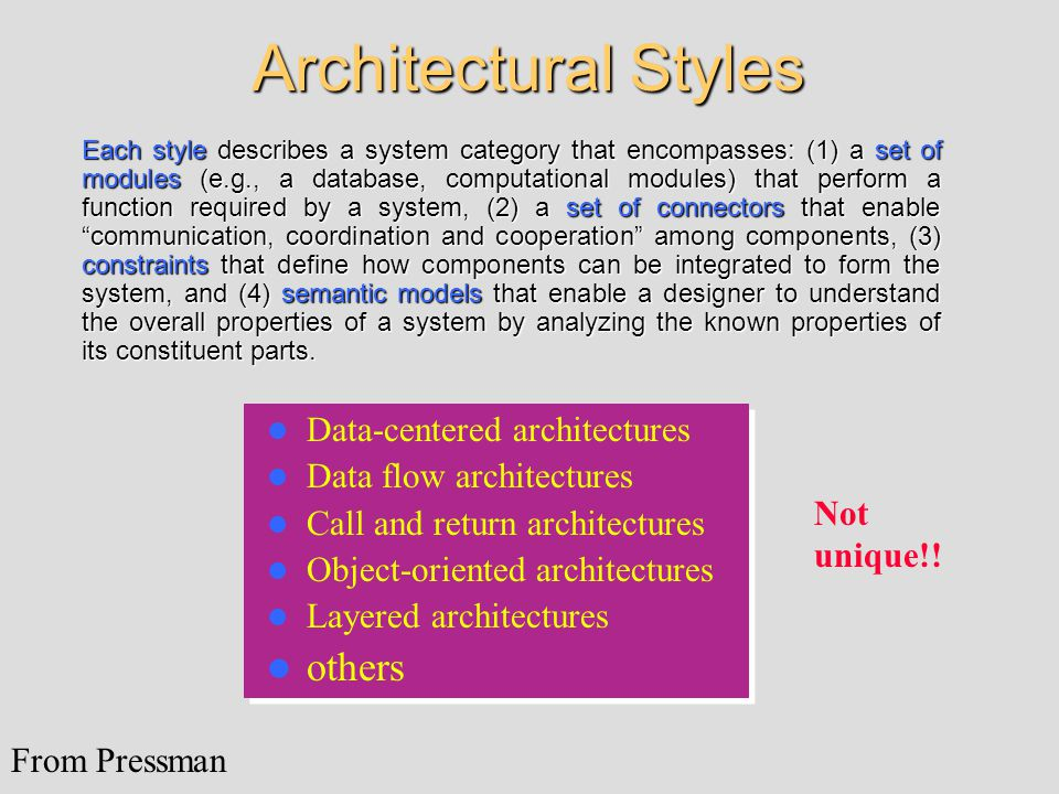 Architectural Styles Data-centered architectures Data flow architectures Call and return architectures Object-oriented architectures Layered architect