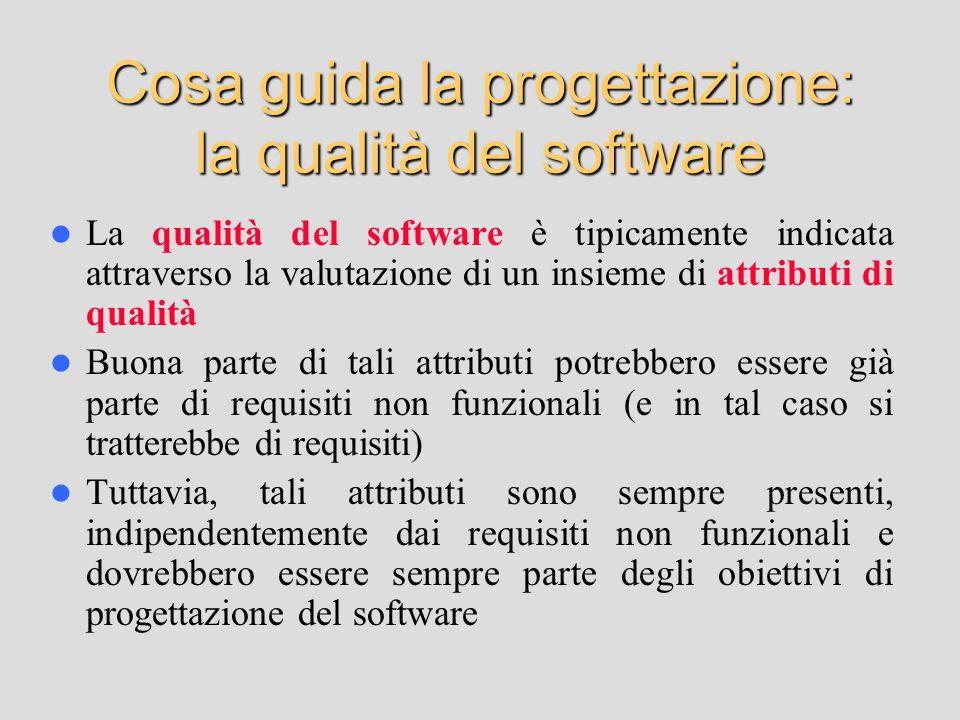 Cosa guida la progettazione: la qualità del software La qualità del software è tipicamente indicata attraverso la valutazione di un insieme di attributi di qualità Buona parte di tali attributi potrebbero essere già parte di requisiti non funzionali (e in tal caso si tratterebbe di requisiti) Tuttavia, tali attributi sono sempre presenti, indipendentemente dai requisiti non funzionali e dovrebbero essere sempre parte degli obiettivi di progettazione del software