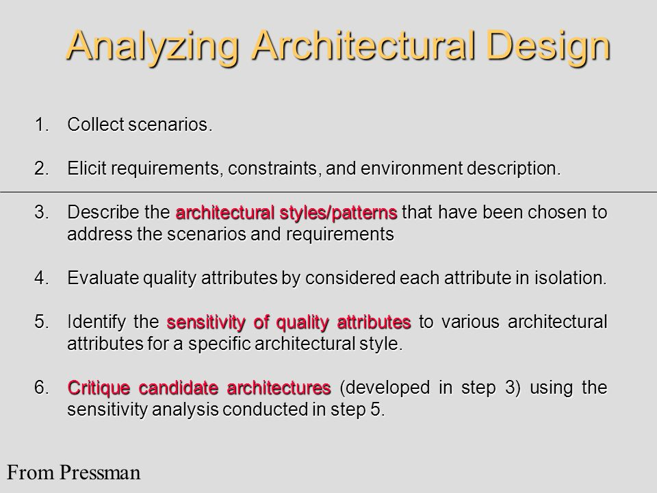 Analyzing Architectural Design 1.Collect scenarios.