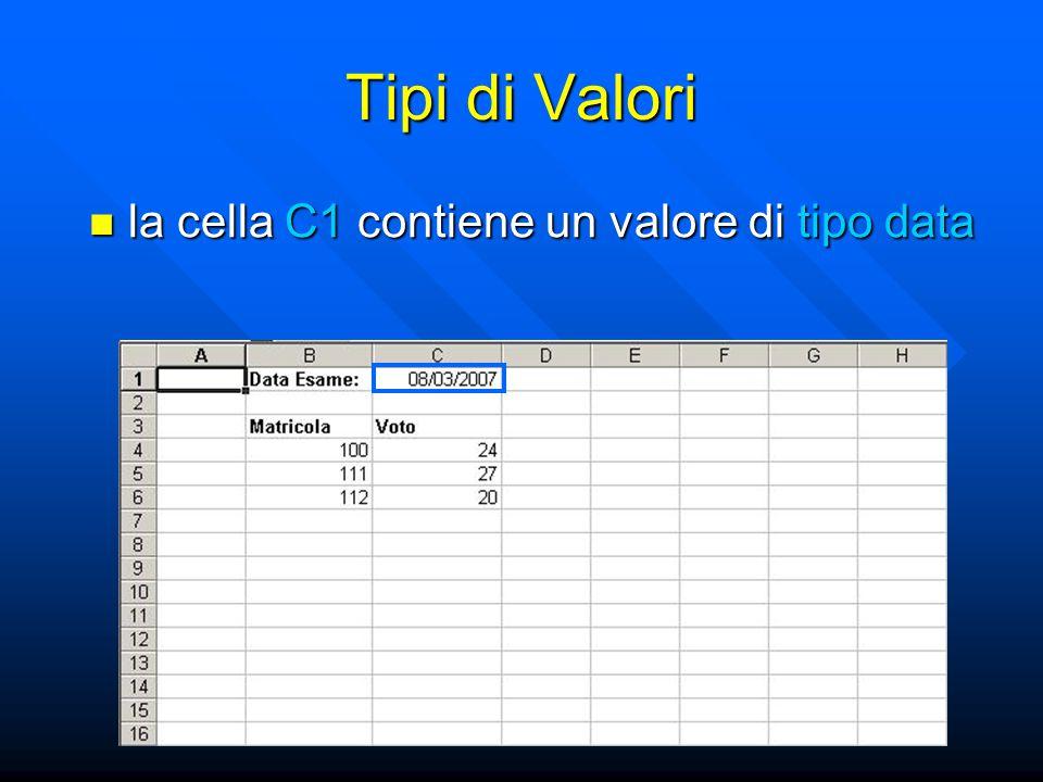 Tipi di Valori la cella C1 contiene un valore di tipo data la cella C1 contiene un valore di tipo data