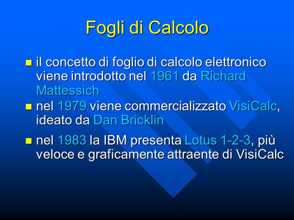 Fogli di Calcolo il concetto di foglio di calcolo elettronico viene introdotto nel 1961 da Richard Mattessich il concetto di foglio di calcolo elettronico viene introdotto nel 1961 da Richard Mattessich nel 1979 viene commercializzato VisiCalc, ideato da Dan Bricklin nel 1979 viene commercializzato VisiCalc, ideato da Dan Bricklin nel 1983 la IBM presenta Lotus 1-2-3, più veloce e graficamente attraente di VisiCalc nel 1983 la IBM presenta Lotus 1-2-3, più veloce e graficamente attraente di VisiCalc