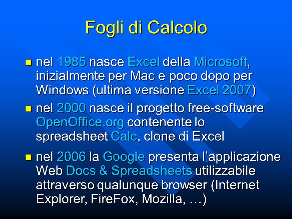 Fogli di Calcolo nel 1985 nasce Excel della Microsoft, inizialmente per Mac e poco dopo per Windows (ultima versione Excel 2007) nel 1985 nasce Excel della Microsoft, inizialmente per Mac e poco dopo per Windows (ultima versione Excel 2007) nel 2006 la Google presenta l'applicazione Web Docs & Spreadsheets utilizzabile attraverso qualunque browser (Internet Explorer, FireFox, Mozilla, …) nel 2006 la Google presenta l'applicazione Web Docs & Spreadsheets utilizzabile attraverso qualunque browser (Internet Explorer, FireFox, Mozilla, …) nel 2000 nasce il progetto free-software OpenOffice.org contenente lo spreadsheet Calc, clone di Excel nel 2000 nasce il progetto free-software OpenOffice.org contenente lo spreadsheet Calc, clone di Excel