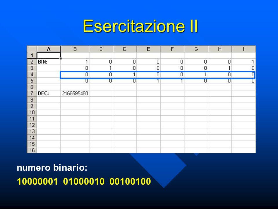 Esercitazione II numero binario: 100000010100001000100100