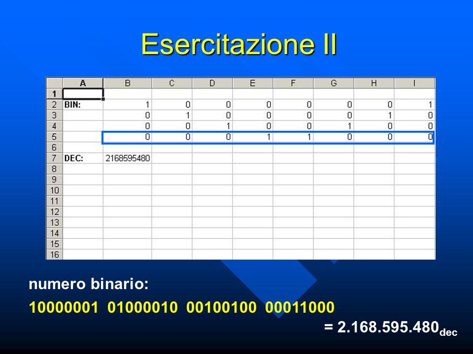 Esercitazione II numero binario: 10000001010000100010010000011000 = 2.168.595.480 dec