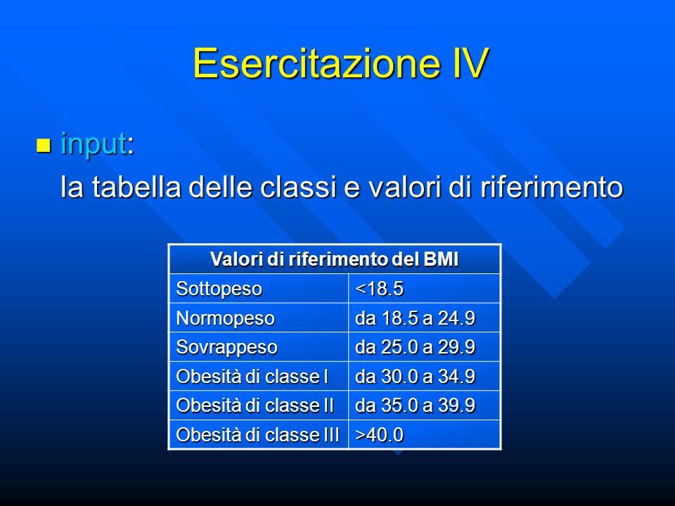 Esercitazione IV input: input: la tabella delle classi e valori di riferimento Valori di riferimento del BMI Sottopeso<18.5 Normopeso da 18.5 a 24.9 Sovrappeso da 25.0 a 29.9 Obesità di classe I da 30.0 a 34.9 Obesità di classe II da 35.0 a 39.9 Obesità di classe III >40.0