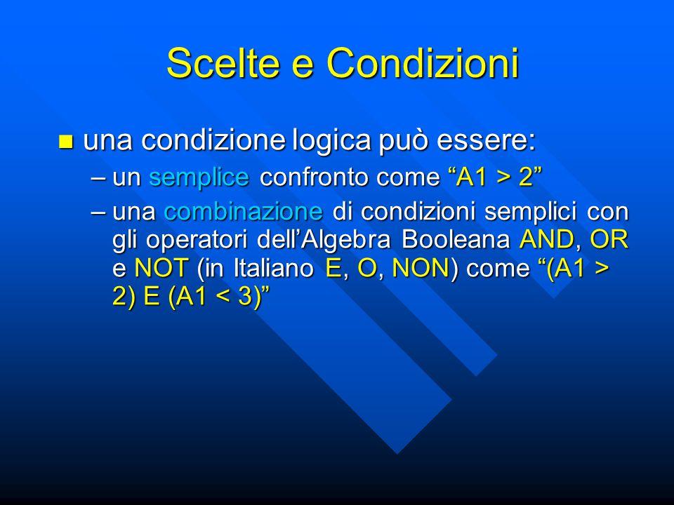 una condizione logica può essere: una condizione logica può essere: –un semplice confronto come A1 > 2 –una combinazione di condizioni semplici con gli operatori dell'Algebra Booleana AND, OR e NOT (in Italiano E, O, NON) come (A1 > 2) E (A1 2) E (A1 < 3) Scelte e Condizioni