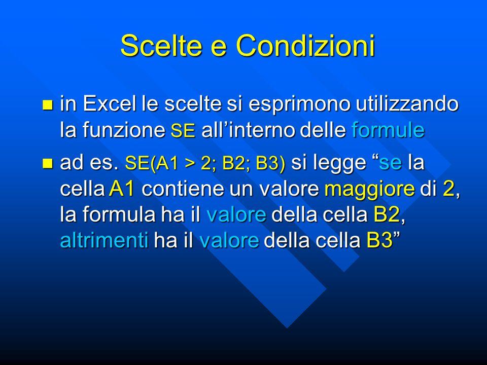 in Excel le scelte si esprimono utilizzando la funzione SE all'interno delle formule in Excel le scelte si esprimono utilizzando la funzione SE all'interno delle formule Scelte e Condizioni ad es.