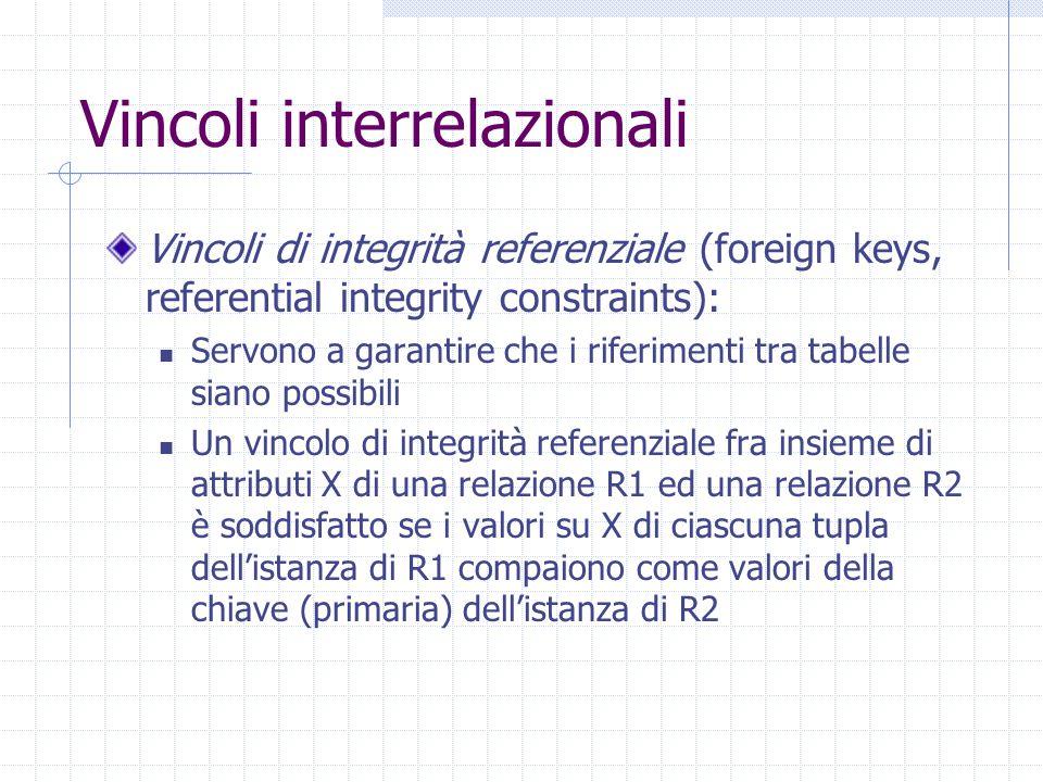 Vincoli interrelazionali Vincoli di integrità referenziale (foreign keys, referential integrity constraints): Servono a garantire che i riferimenti tra tabelle siano possibili Un vincolo di integrità referenziale fra insieme di attributi X di una relazione R1 ed una relazione R2 è soddisfatto se i valori su X di ciascuna tupla dell'istanza di R1 compaiono come valori della chiave (primaria) dell'istanza di R2