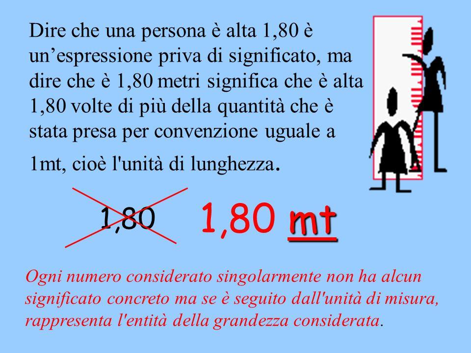 Dire che una persona è alta 1,80 è un'espressione priva di significato, ma dire che è 1,80 metri significa che è alta 1,80 volte di più della quantità