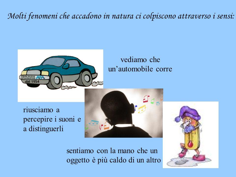 Molti fenomeni che accadono in natura ci colpiscono attraverso i sensi: vediamo che un'automobile corre sentiamo con la mano che un oggetto è più cald