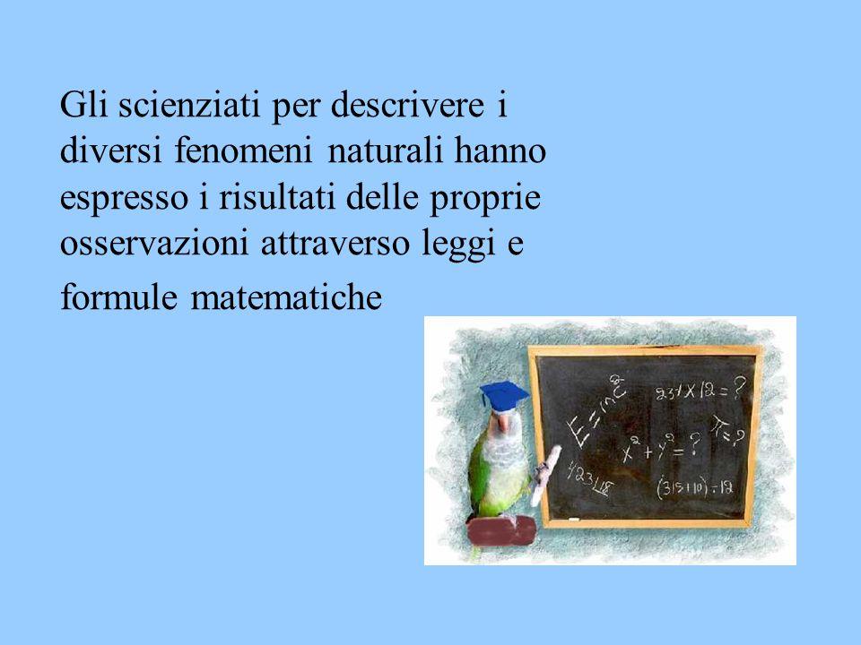 Gli scienziati per descrivere i diversi fenomeni naturali hanno espresso i risultati delle proprie osservazioni attraverso leggi e formule matematiche