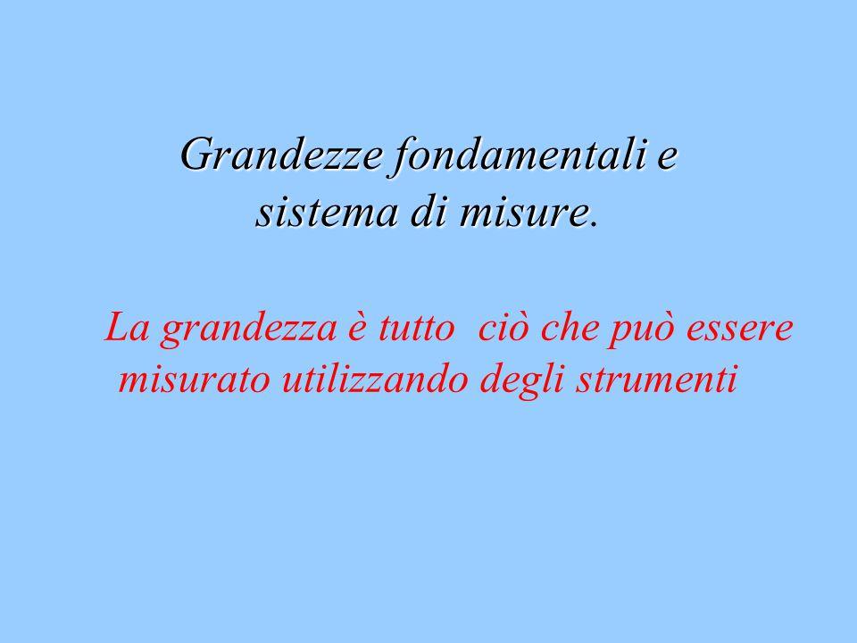 Grandezze fondamentali e sistema di misure Grandezze fondamentali e sistema di misure. La grandezza è tutto ciò che può essere misurato utilizzando de