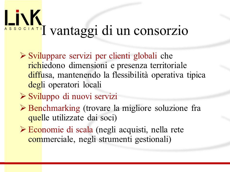 I vantaggi di un consorzio  Sviluppare servizi per clienti globali che richiedono dimensioni e presenza territoriale diffusa, mantenendo la flessibil