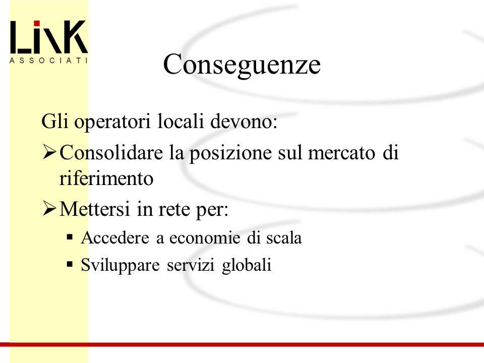 Conseguenze Gli operatori locali devono:  Consolidare la posizione sul mercato di riferimento  Mettersi in rete per:  Accedere a economie di scala  Sviluppare servizi globali