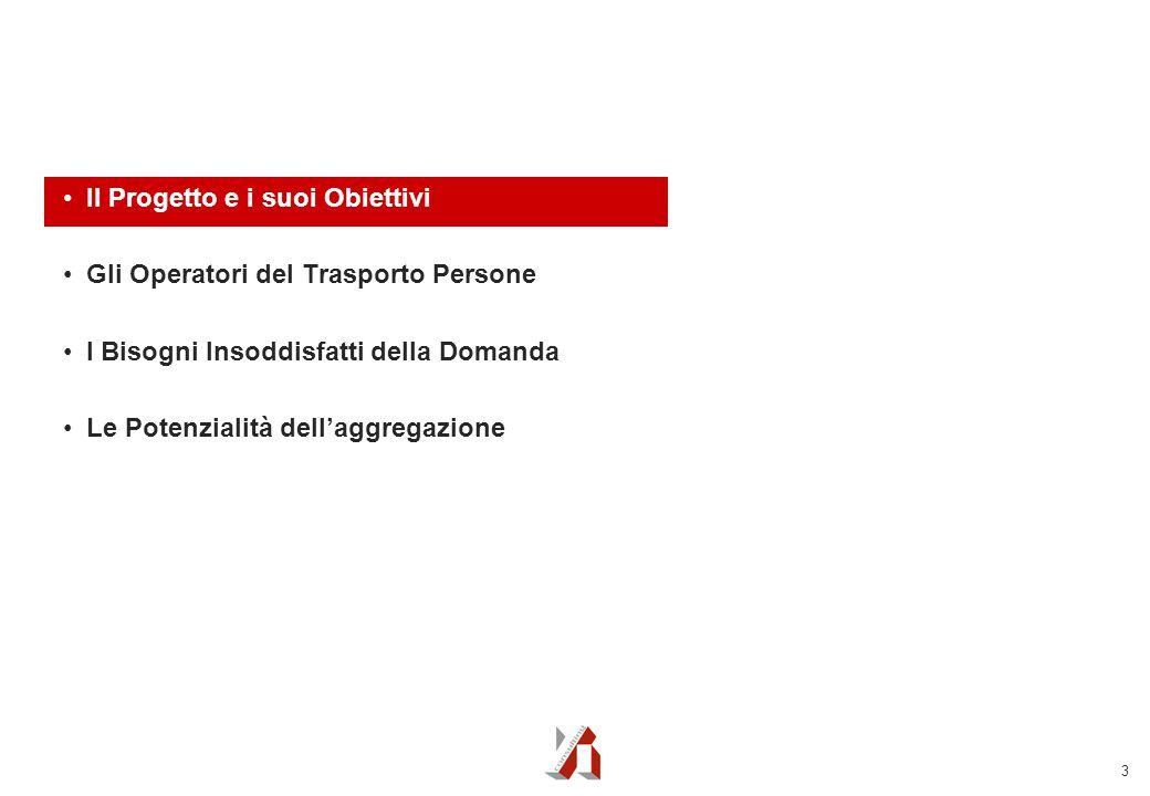 3 Il Progetto e i suoi Obiettivi Gli Operatori del Trasporto Persone I Bisogni Insoddisfatti della Domanda Le Potenzialità dell'aggregazione
