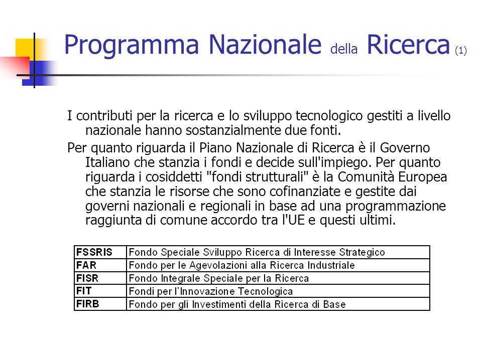 Programma Nazionale della Ricerca (1) I contributi per la ricerca e lo sviluppo tecnologico gestiti a livello nazionale hanno sostanzialmente due fonti.