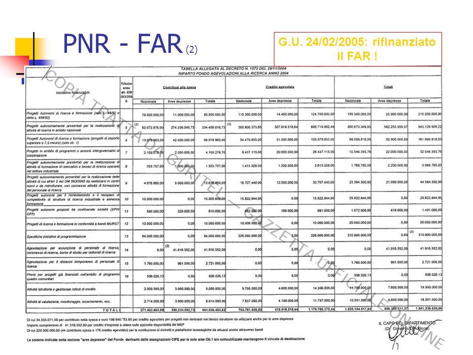 PNR - FAR (2) G.U. 24/02/2005: rifinanziato il FAR !