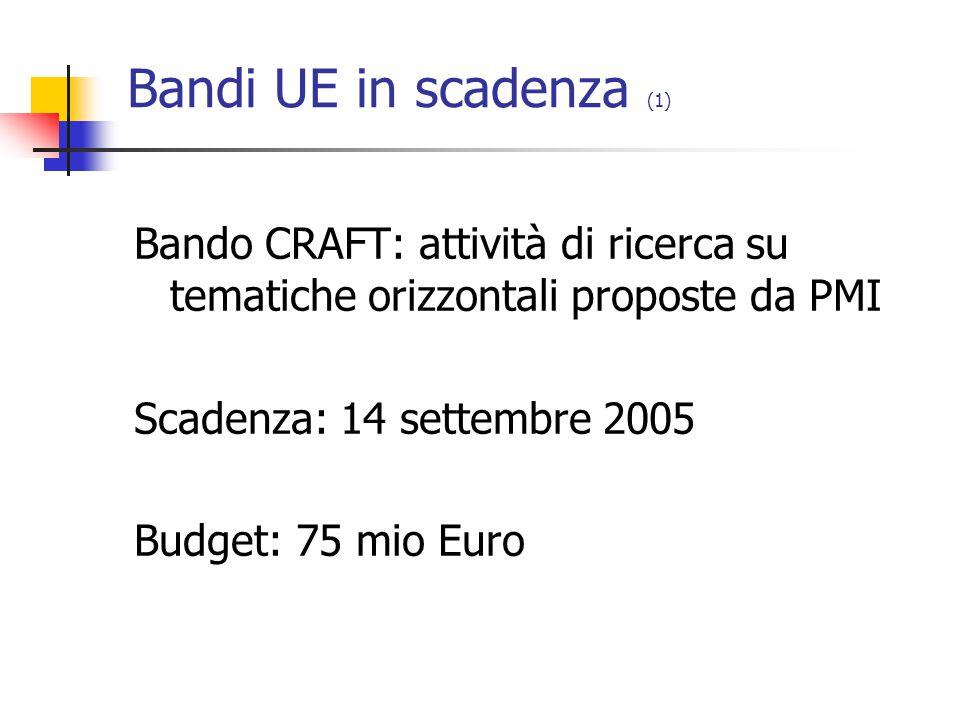 Bandi UE in scadenza (2) FP6-2005-Transport-4: Invito tematico per l area «Trasporti di superficie 3B».