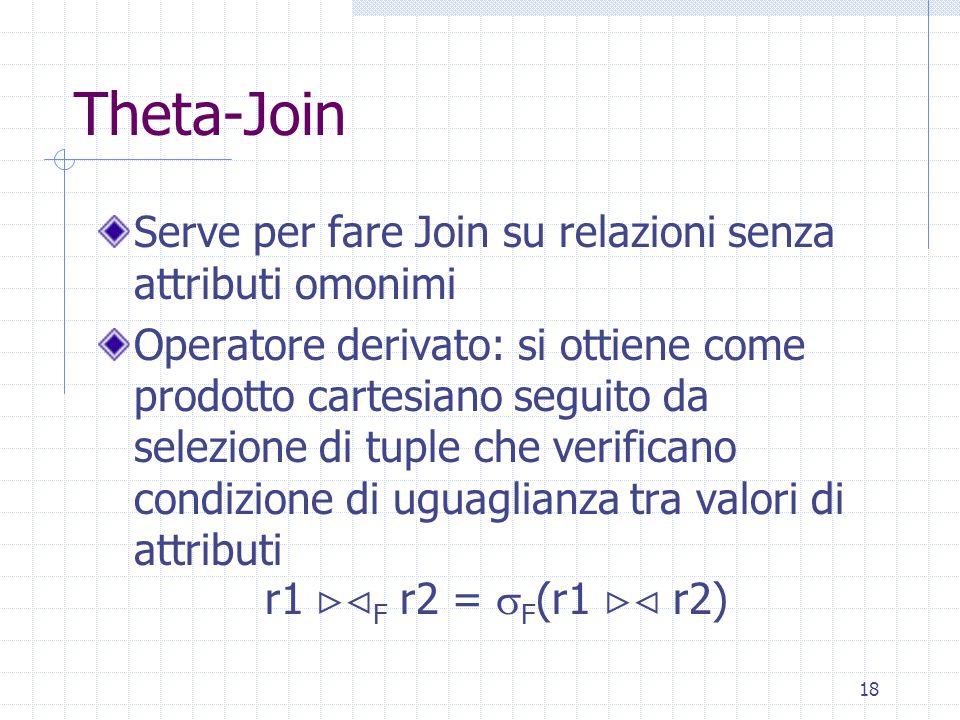 18 Theta-Join Serve per fare Join su relazioni senza attributi omonimi Operatore derivato: si ottiene come prodotto cartesiano seguito da selezione di tuple che verificano condizione di uguaglianza tra valori di attributi r1  F r2 =  F (r1  r2)