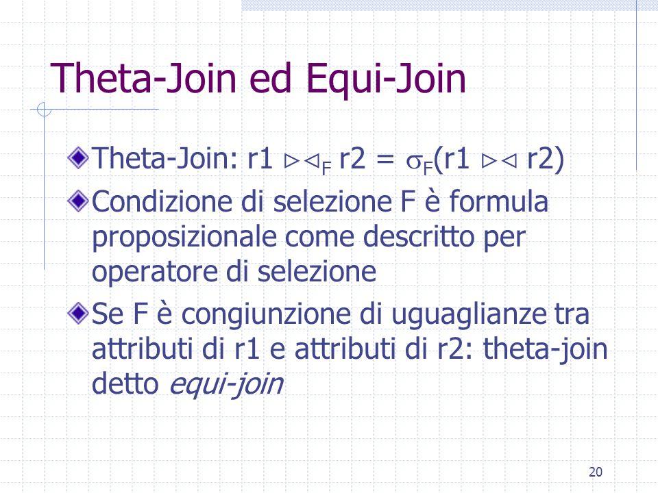 20 Theta-Join ed Equi-Join Theta-Join: r1  F r2 =  F (r1  r2) Condizione di selezione F è formula proposizionale come descritto per operatore di selezione Se F è congiunzione di uguaglianze tra attributi di r1 e attributi di r2: theta-join detto equi-join