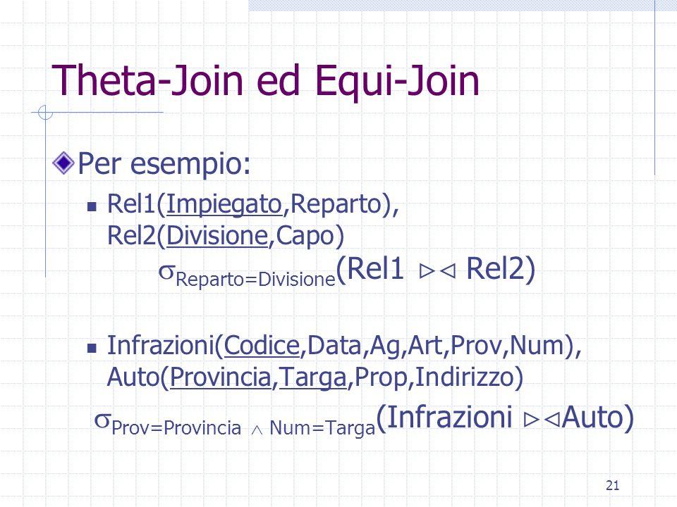 21 Theta-Join ed Equi-Join Per esempio: Rel1(Impiegato,Reparto), Rel2(Divisione,Capo)  Reparto=Divisione (Rel1  Rel2) Infrazioni(Codice,Data,Ag,Art,Prov,Num), Auto(Provincia,Targa,Prop,Indirizzo)  Prov=Provincia  Num=Targa (Infrazioni  Auto)