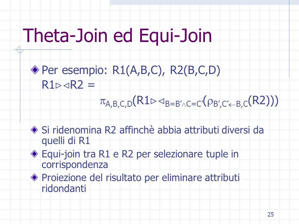 25 Theta-Join ed Equi-Join Per esempio: R1(A,B,C), R2(B,C,D) R1  R2 =  A,B,C,D (R1  B=B'  C=C' (  B',C'  B,C (R2))) Si ridenomina R2 affinchè abbia attributi diversi da quelli di R1 Equi-join tra R1 e R2 per selezionare tuple in corrispondenza Proiezione del risultato per eliminare attributi ridondanti