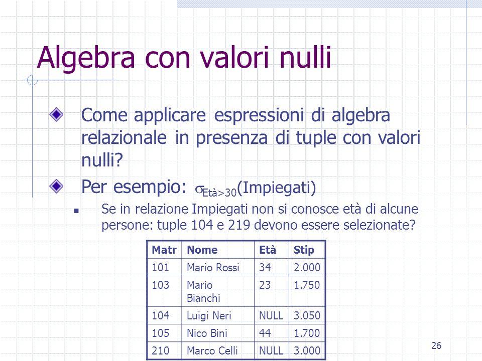 26 Algebra con valori nulli Come applicare espressioni di algebra relazionale in presenza di tuple con valori nulli.
